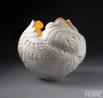 Gilded Jungle Leaf Bowl (2101), 9″H × 10″W, porcelain and 23-karat gold.