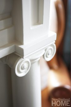 Intricate scrollwork is found on all the home's fireplace mantels.