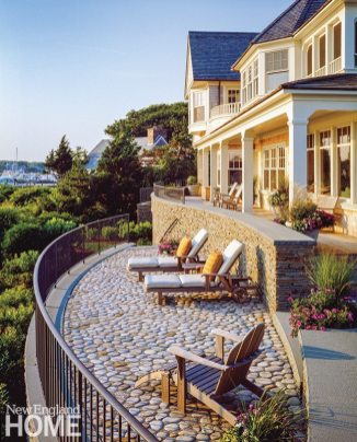 "This home's owners enjoy a cinematic view of the harbor. ""It's an intimate west-facing space, one of those rare locations on the Atlantic where you can experience a sunset over water,"" says landscape architect Kris Horiuchi."