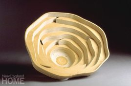 Wobble Series vessel (2002), Baltic birch plywood, 10″H × 26″W
