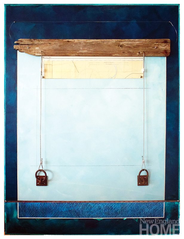Perches (2012), acrylic/collage with found objects, 48″H × 36″W.