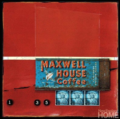 Maxwell Marsh (2009), acrylic/collage with found objects, 10″H × 10″W.
