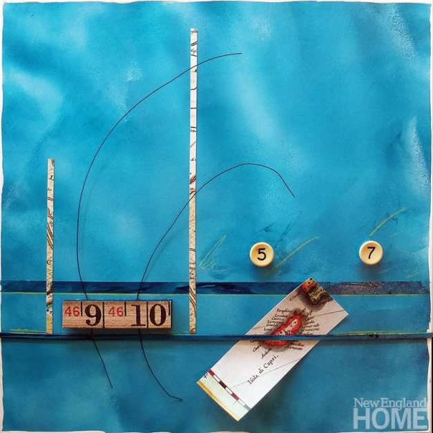 Capri (2011), acrylic/collage with found objects, 20½″H × 20½″W.