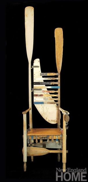 A Perfectly Good Oar (2002), acrylic/collage with found objects, 82″H × 22″W × 16″D.