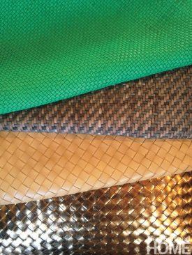 An array of woven calfskin, ready to be turned into Lance Wovens products.