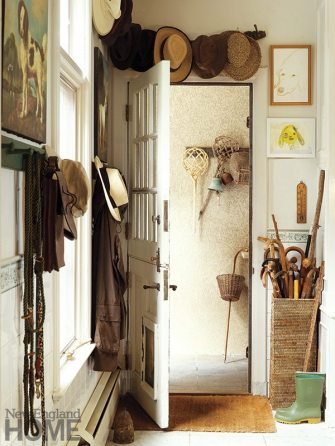 Guests can borrow walking sticks, boots, hats and more, all found in the mudroom.