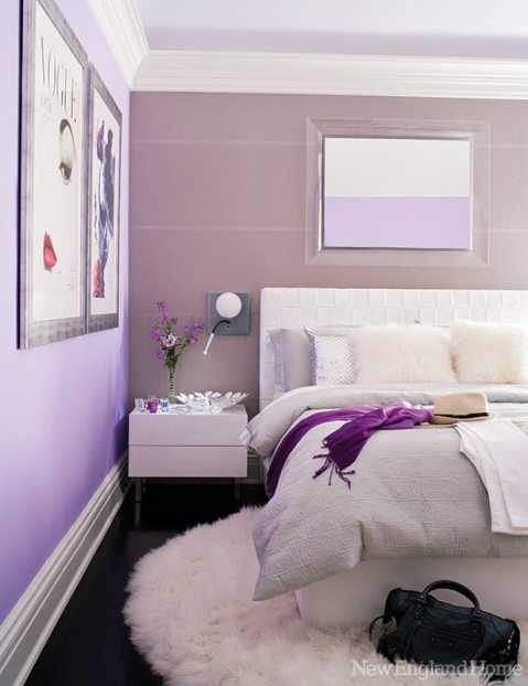 A plush white rug grounds a daughter's colorful bedroom.