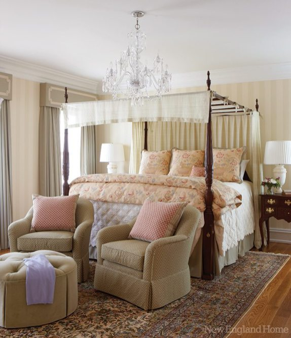 A Waterford chandelier adds glamour to the master bedroom.