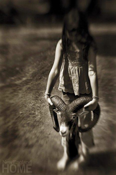 Girl with Ram Head (2008), 30″ × 45″