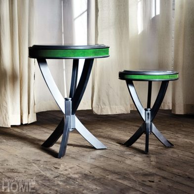 Adorned with an accent strip of Kelly-green leather, Table no. Thirty Three is made of native maple with a worn-lacquer silver-and-onyx finish.