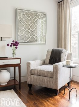 Sheer woven curtains offer privacy but let the light in.