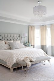 """The master bedroom is an oasis of calm for the homeowners. """"It's great when you can make something beautiful but it's also great when it doesn't overstimulate the senses,"""" says Morgan Harrison."""