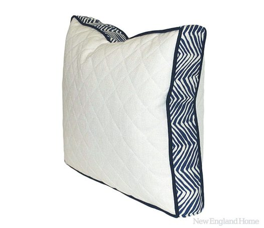 """""""Tini"""" quilted racetrack pillow in navy zigzag and white cotton-linen blend."""