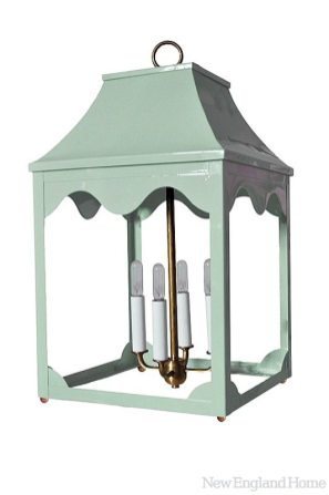 """The pale gray-green of the """"hobe sound"""" lantern is called rainwashed."""