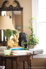 A gold rabbit from Bunny Williams's BeeLine Home collection adds a whimsical note.