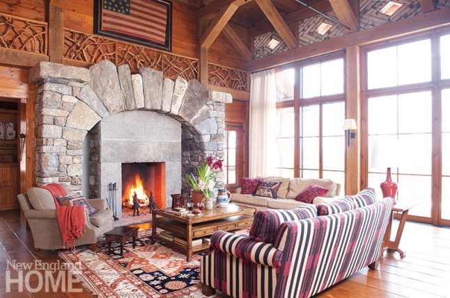 The great room's massive hearth features stone pulled from the property as well as from nearby quarries.