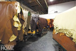 Leather in storage at the New Milford warehouse.