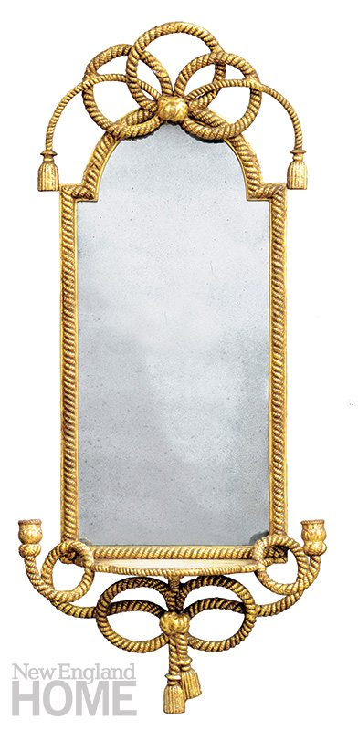 With a Twist... and a tassel and a bow, this circa-1840 mirror with a gilded, carved wood frame is a stunner. 45½″H × 20½″W x 6½″D. $7,400. Susan Silver Antiques, Sheffield, Mass., (413) 229-8169, susansilverantiques.com