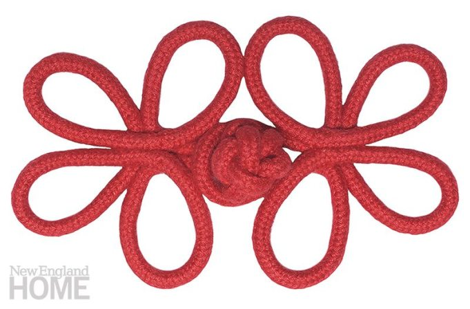 Finishing Touch. The Harbor Crown Knot Frog, from Samuel & Sons Passementerie, was inspired by nautical regalia. It can be used at the top of a pleat on a skirted sofa or as an ornament on a pillow or throw. Shown here in Lobster, it's available in nine colorways. 4″W. $30. The Martin Group, Boston Design Center, (617) 951-2526, martingroupinc.com