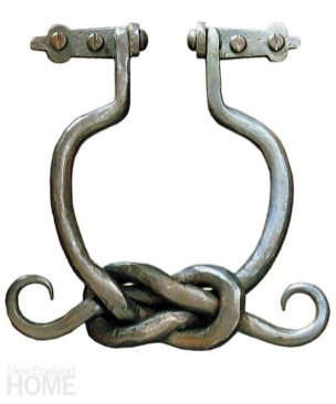 Knock Knot. For more than a decade, Hardware Renaissance has created hand-forged iron and bronze hardware in a responsible way. The company strives to use minimal energy resources, and creates patinas that are environmentally friendly, like the hand-applied hot-wax finish of this knotted iron door knocker. 6″H × 4″W. $293. Brassworks, Providence, (401) 421-5815, finehomedetails.com