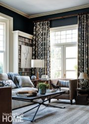 A variety of patterns-from herringbone to stripes to circles-mix it up against the dark walls of the music room.