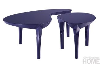 "Arabesque Cocktail Table Set by Dakota Jackson ""I love the efficient design of this table—the amoeba shape is so well-formed that its two parts make a perfect whole. The gleaming dark blue is the new black!"" Webster & Company, Boston, (617) 261-9660, webstercompany.com"