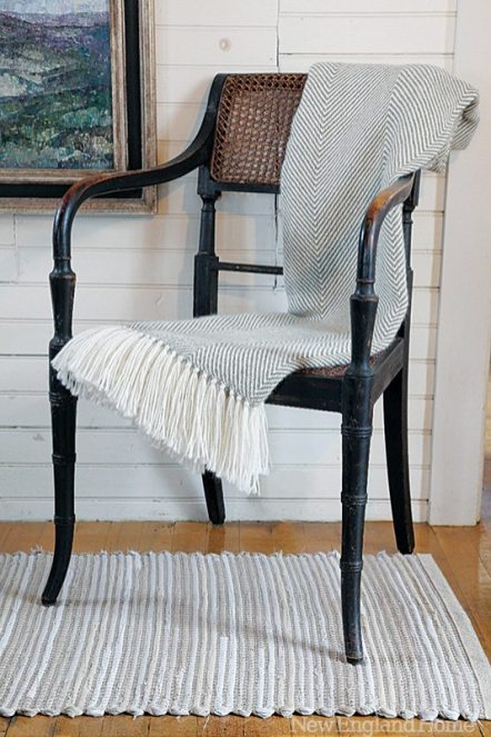 An alpaca throw woven in a herringbone pattern.