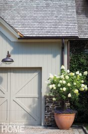 The garage was designed to resemble a barn.