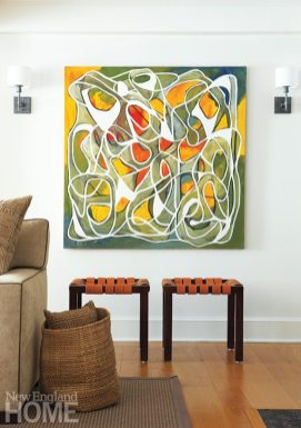 The abstract painting in the living room is by artist Steven Miller.