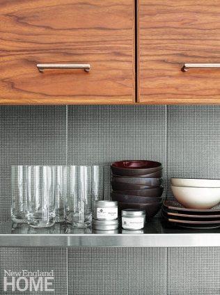Colorful apartment for empty nesters porcelain tile backsplash
