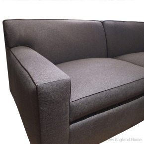 The Myles sofa from Kristin Paton Home has the tailored feel of a Mad Men suit.