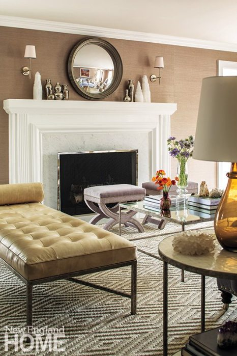Soft, earthy tones of mocha, taupe, silver, and ivory ward off winter's chill in the living room.