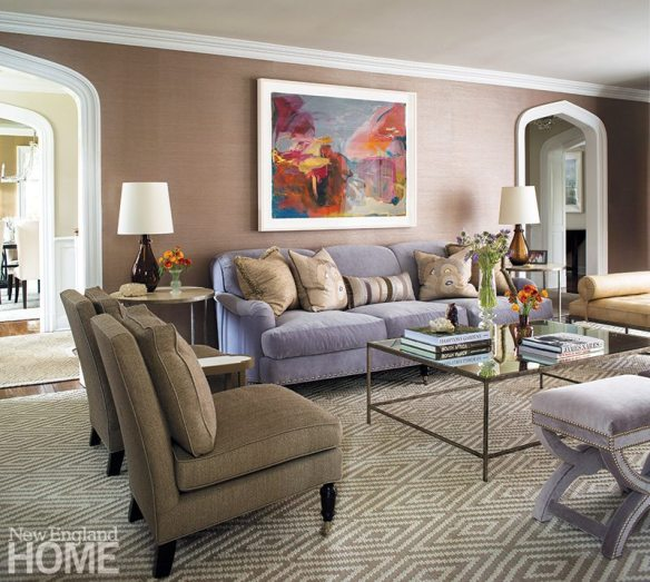 The quiet palette is energized with pieces upholstered in pale lavender and a Claudia Mengel painting with bold hues.