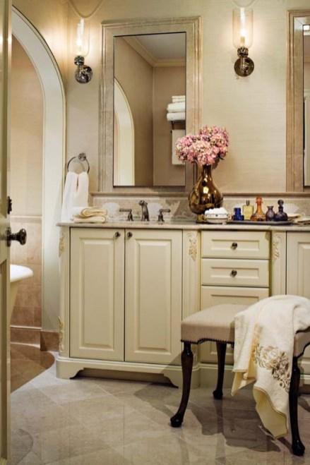 The master bath's marble floor and vanity top heighten the luxury factor.