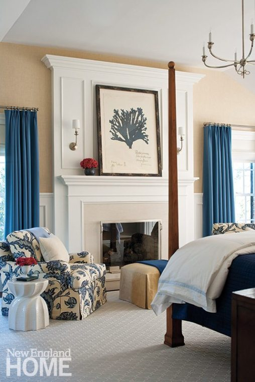 A new paneled wall and raised hearth replaced a heavy fireplace in the master bedroom.