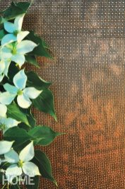 Petta Thompson's Ravenna wallcovering incorporates copper pigment; its custom paint mixture gives it its shimmer.