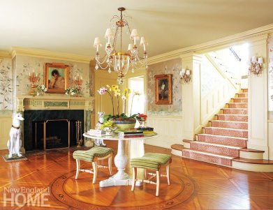 Timelessness, it seems, is the best anti-aging formula. Antiques, Gracie paper, and an animal-print stair runner in a luscious shade of pink stop time in its tracks in this historic Belle Haven home.
