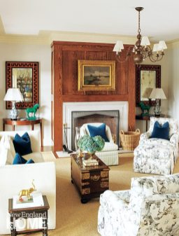 A mix of antiques, high-quality reproductions, and new upholstered pieces give the living room its comfortable, traditional feel.