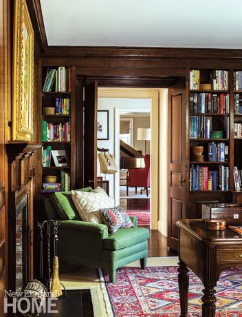 Traditional aspects of the house, like the handsome paneling in the library, were retained.