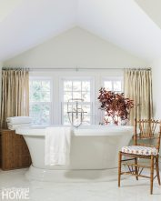 Neutral tones are a quiet, calming palette for the master bath.