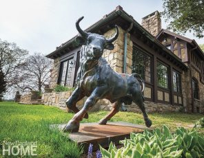 """The eye-catching bull was a present to Salamone from Westcott. """"Ken is my friend. We're part of each other's lives,"""" she says."""