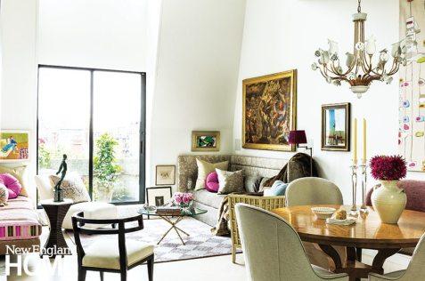Back Bay condo for art collectors Italian chandelier