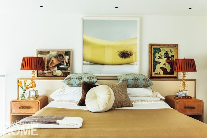 Back Bay condo for art collectors master bedroom