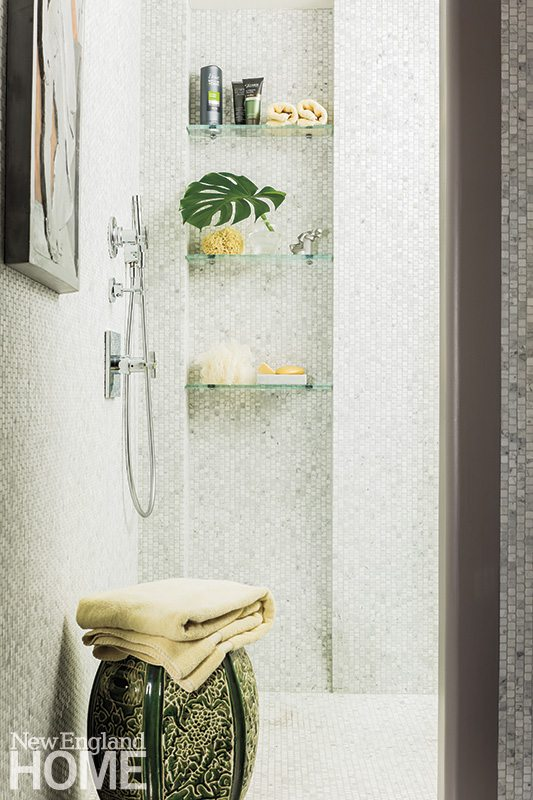 Back Bay condo for art collectors spa-like shower