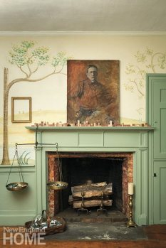 In the living room, an antique Spanish gilt frame draws more attention left empty atop the mural.