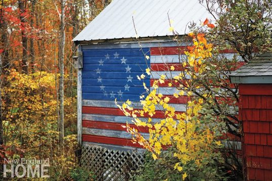 To maintain the old-time tenor, Tousignant painted an early American flag on the barn.