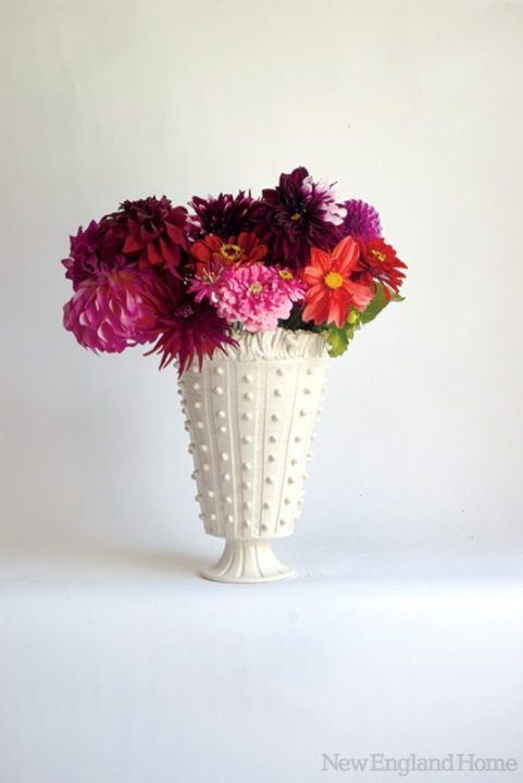 A 10-inch-high beaded vase with ruffle, from 2010.