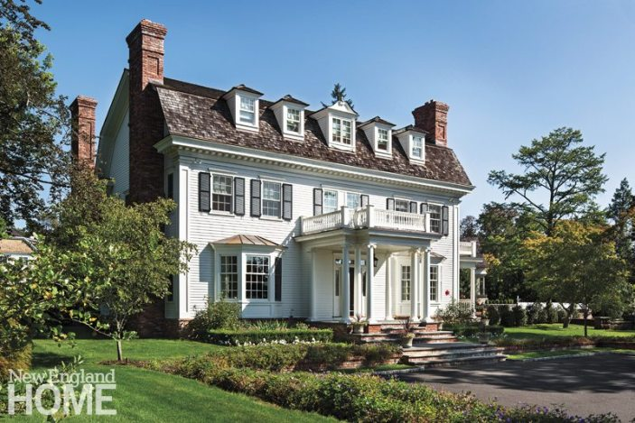 Architect Dinyar Wadia designed this stately Colonial Revival home to feel like it's been here for decades and to blend into its Greenwich neighborhood.