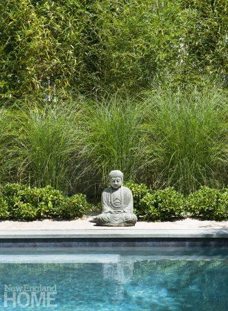 A serene poolside setting.