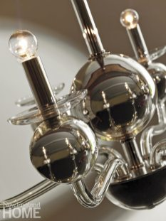 A detail from the Six Arm Silvered Glass Chandelier